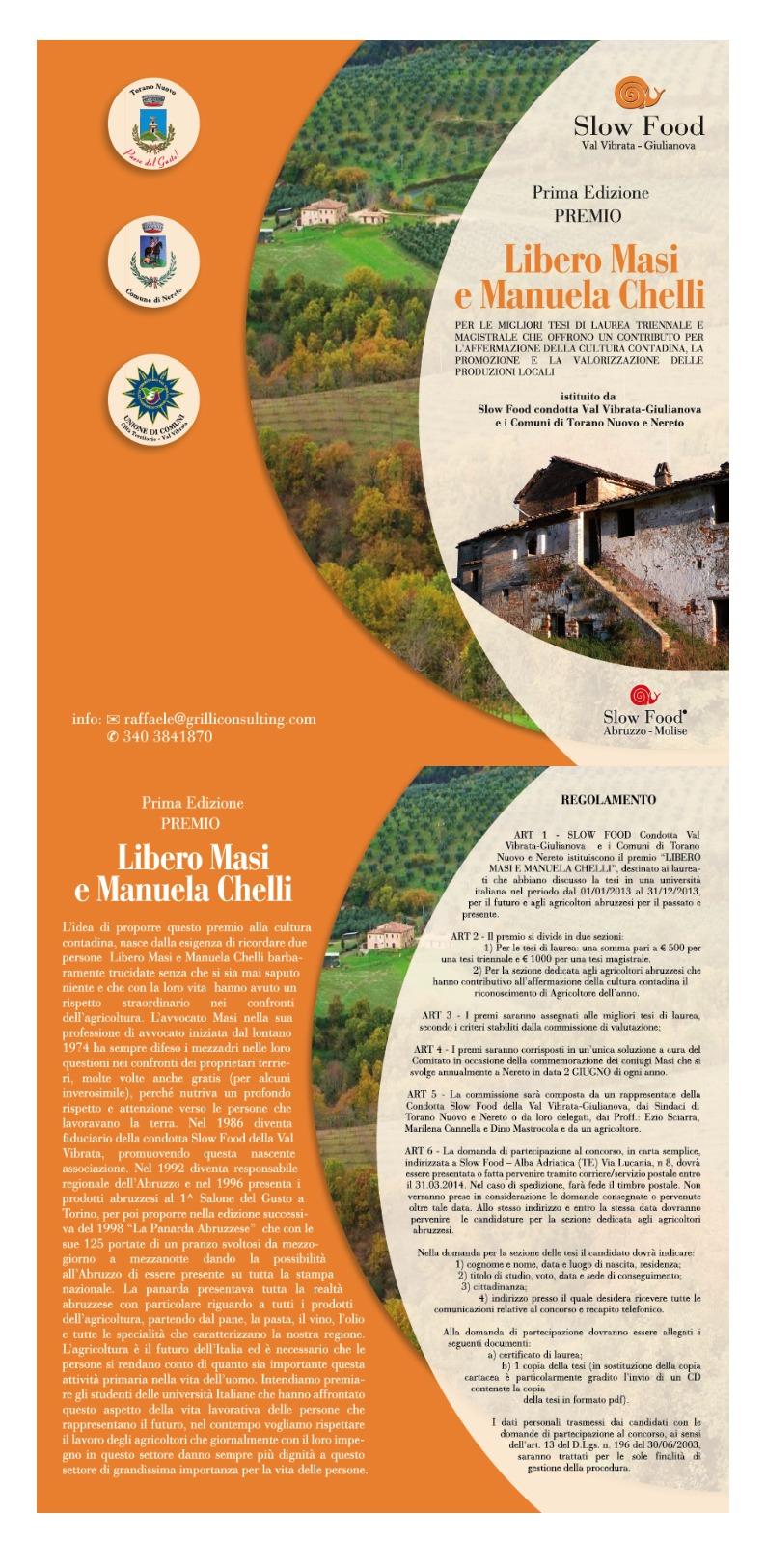 Prima Edizione Premio Libero Masi e Manuela Chelli
