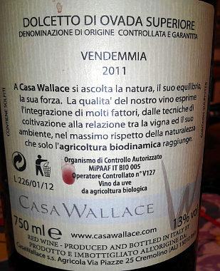 Dolcetto di Ovada casa Wallace 2011 etichetta retro