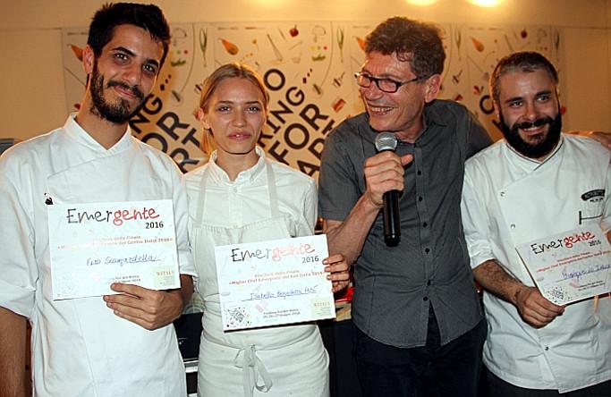 I tre giovani Chef vincitori qualificati per la finale con Luigi Cremona