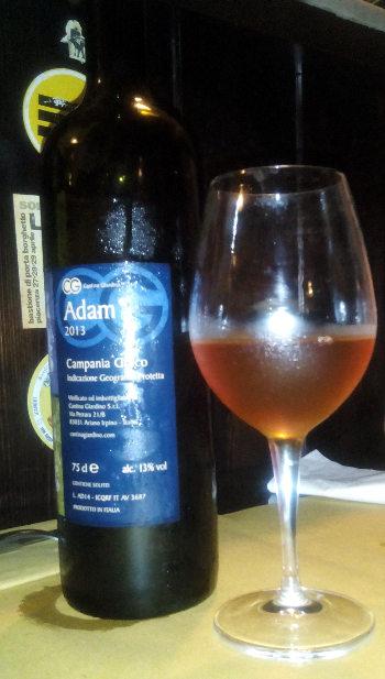 Adam 2013 Greco Cantina Giardino calice e bottiglia