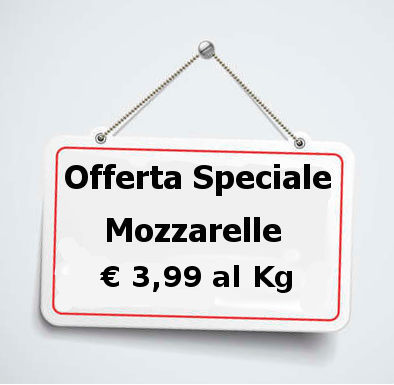 mozzarelle in offerta speciale cartello