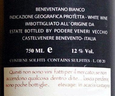 Bianco Tempo podere veneri vecchio etichetta