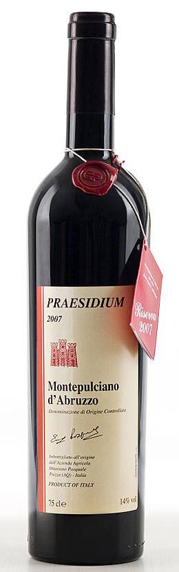 Praesidium Montepulciano d'Abruzzo 2011 bottiglia