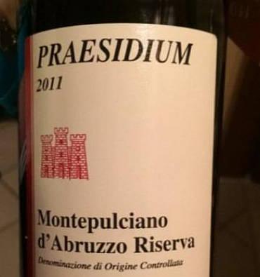 Praesidium Montepulciano d'Abruzzo 2011 etichetta