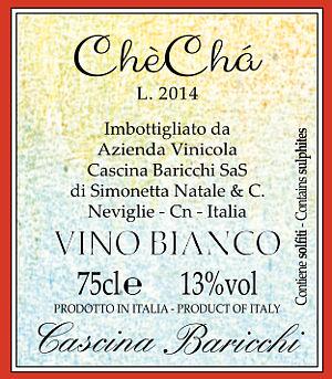 Chè Chà Cascina Baricchi etichetta retro