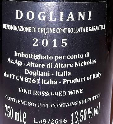 Dogliani 2015 Nicholas Altare etichetta retro