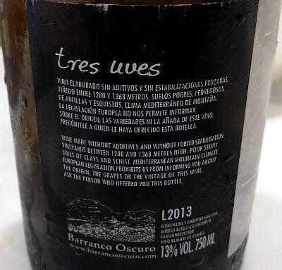 Tres uves 2013 etichetta mini