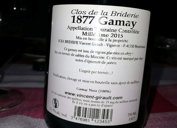 1877 Gamay Close de la Briderie etichetta retro