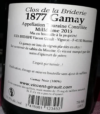 1877 Gamay Close de la Briderie etichetta retro piccola