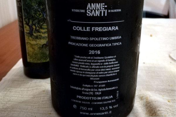 colle fregiara 2016 francesco annesanti trebbiano spoletino etichetta retro bottiglia