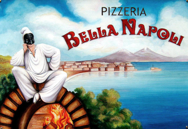 trash pittorico da pizzeria cartone pizza con pulcinella e forno e vesuvio