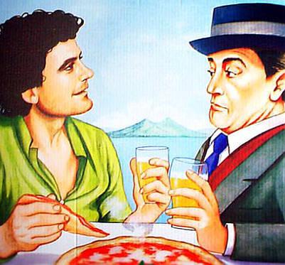 trash pittorico da pizzeria massimo troisi e totò con birra e vesuvio