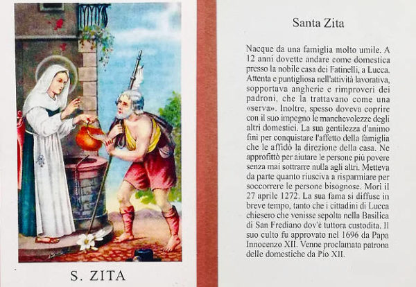 Santino di Santa Zita protettrice dei camerieri