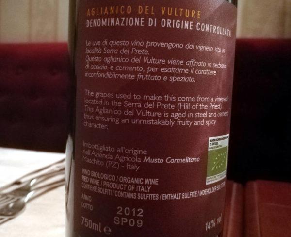 Serra del prete 2012 Musto Carmelitano etichetta retro