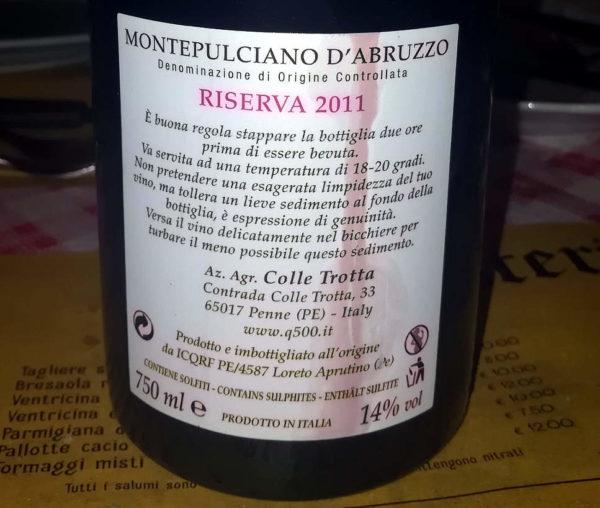 Q500 Montepulciano DOC riserva 2011 etichetta retro