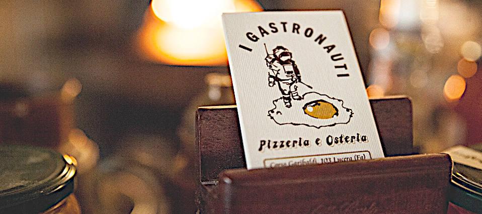 Sabino stingone pizzeria i gastronauti lucera biglietto da visita e logo