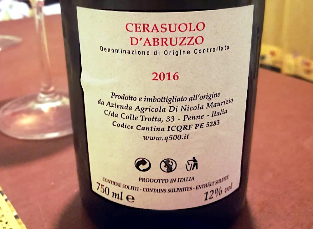 Q500 cerasuolo d'Abruzzo azienda colle trotta etichetta retro