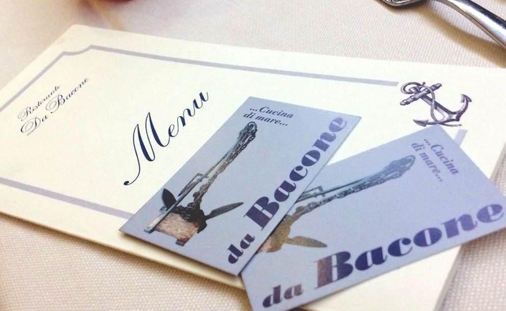 Ristorante da Bacone Pescara menù e biglietti da visita