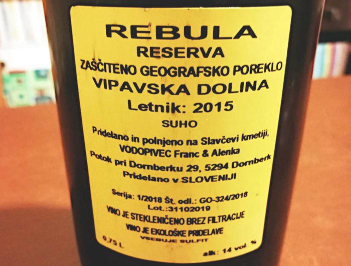 Rebula Reserva 2015 Slavček etichetta retro