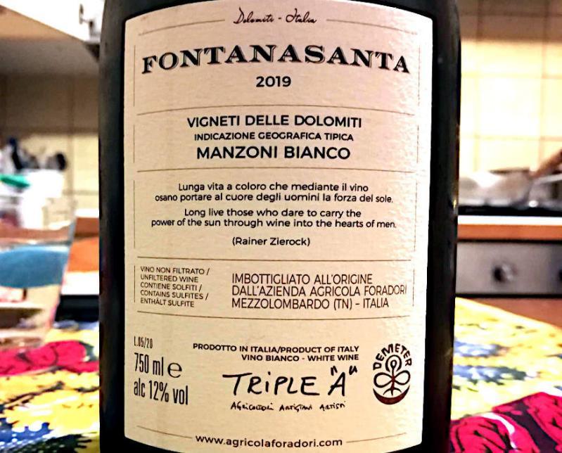 Fontana santa manzoni bianco 2019 foradori incrocio manzoni etichetta retro