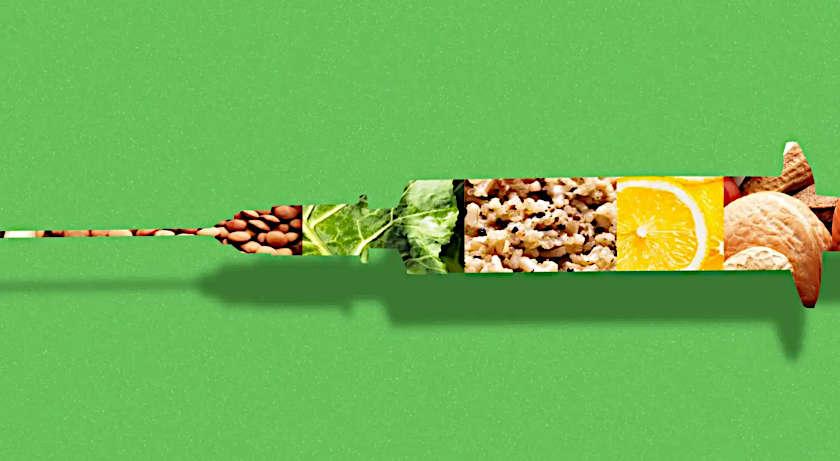 abbinamento cibo vaccino siringa con frutta e vegetali